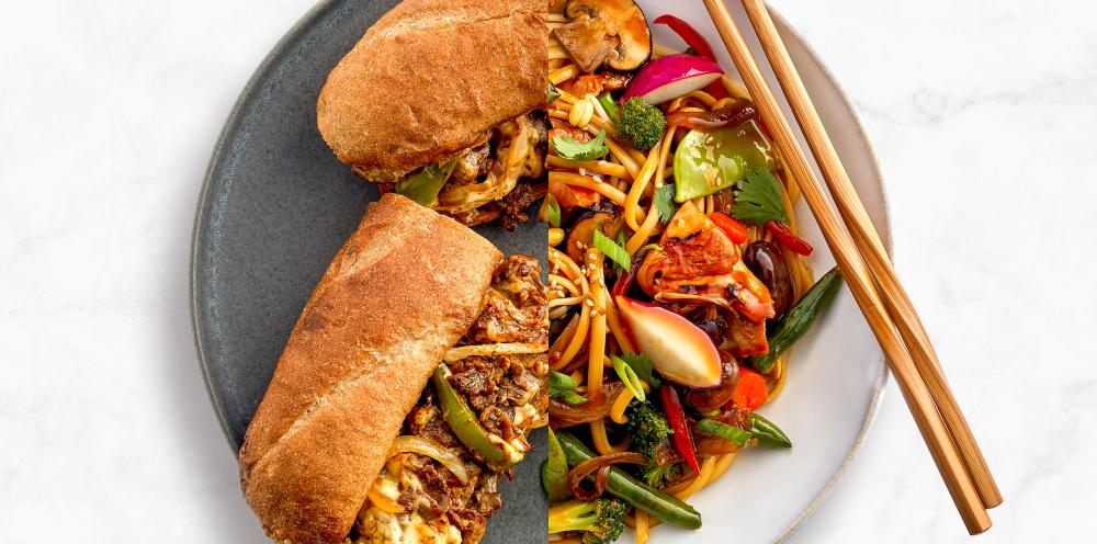 A split photo of a plate of food featuring Caramelized Vegetable Stir-Fry and a Cheesy Beefsteak Hoagie