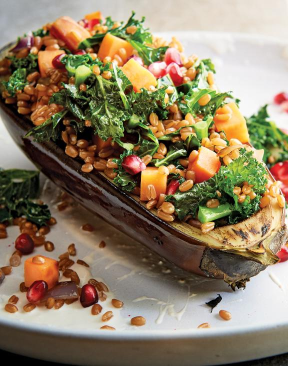 Eggplant Stuffed with Winter Wheat Berries
